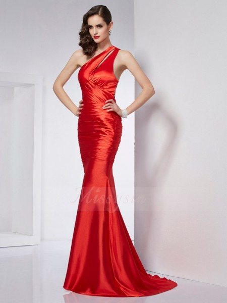 Sheath/Column One-Shoulder Sleeveless Sweep/Brush Train Red Dresses