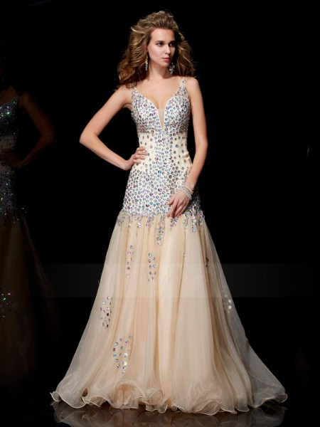 Sheath/Column V-neck Sleeveless Floor-Length Champagne Dresses