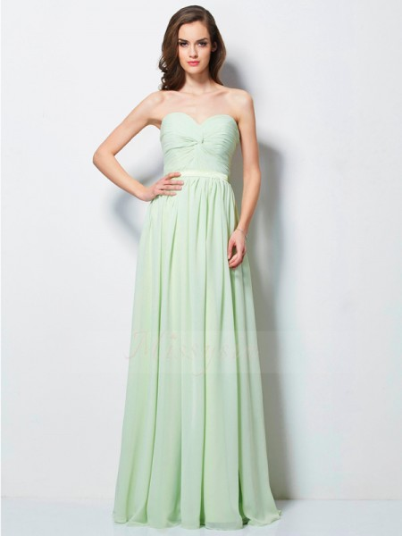 A-Line/Princess Sweetheart Sleeveless Floor-Length Sage Dresses