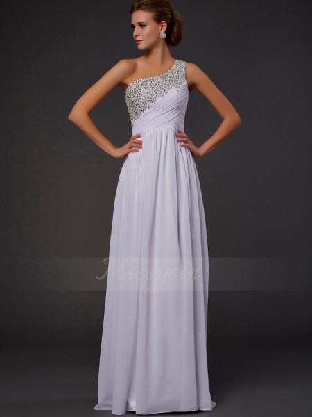 Sheath/Column One-Shoulder Sleeveless Floor-Length White Dresses