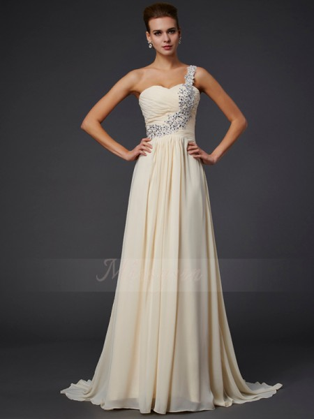 A-Line/Princess One-Shoulder Sleeveless Floor-Length Daffodil Dresses