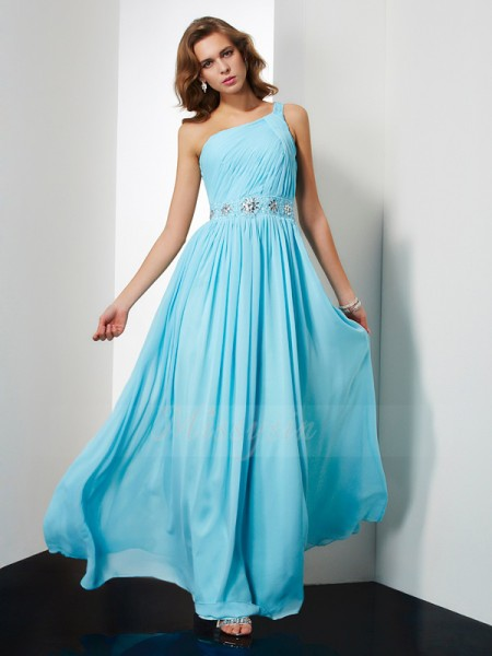 A-Line/Princess One-Shoulder Sleeveless Floor-Length Blue Dresses