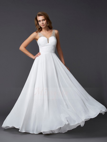 Sheath/Column Straps Sleeveless Floor-Length White Dresses