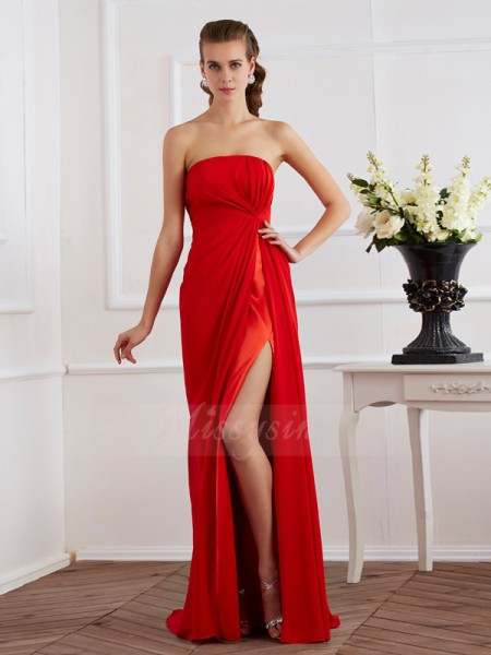 Sheath/Column Strapless Sleeveless Floor-Length Red Dresses