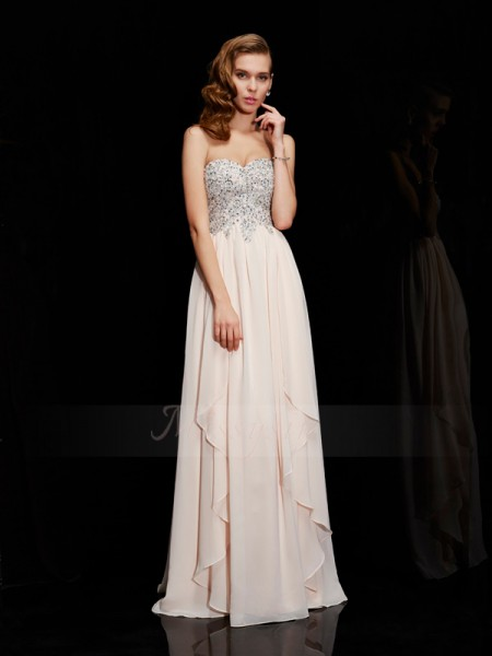 Sheath/Column Sweetheart Sleeveless Floor-Length Champagne Dresses