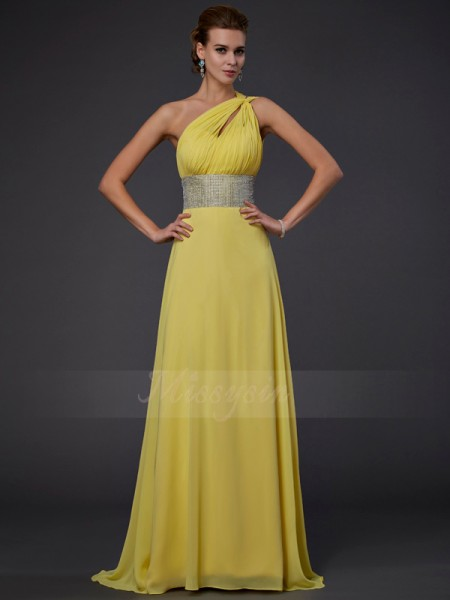 A-Line/Princess One-Shoulder Sleeveless Floor-Length Yellow Dresses