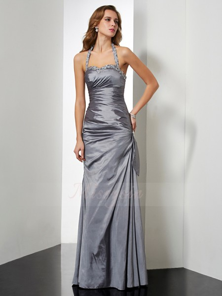 Trumpet/Mermaid Halter Sleeveless Floor-Length Silver Dresses