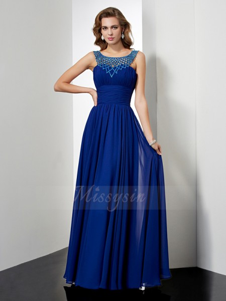 Empire High Neck Sleeveless Floor-Length Royal Blue Dresses