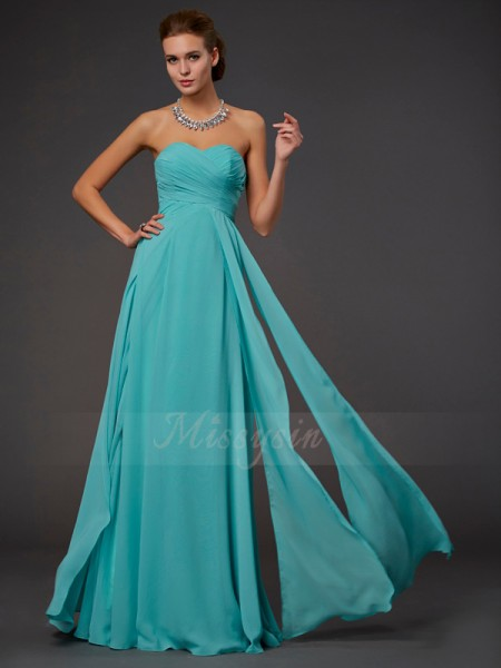 A-Line/Princess Sweetheart Sleeveless Floor-Length Hunter Green Dresses