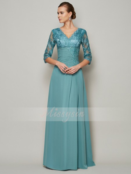 A-Line/Princess V-neck 3/4 Sleeves Floor-Length Mother of the Bride Dresses