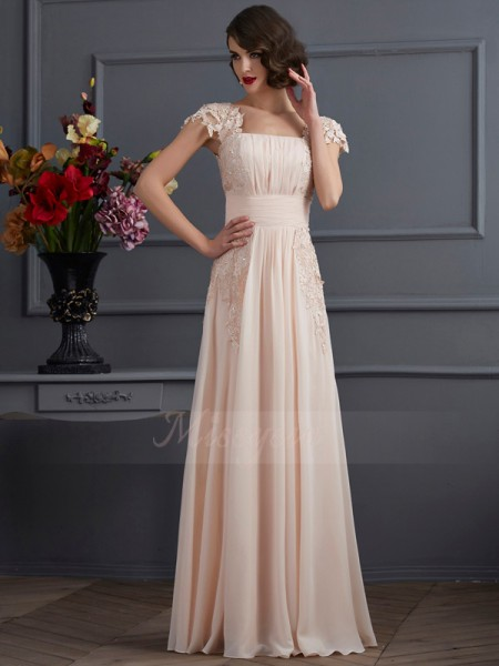 A-Line/Princess Square Short Sleeves Floor-Length Champagne Dresses
