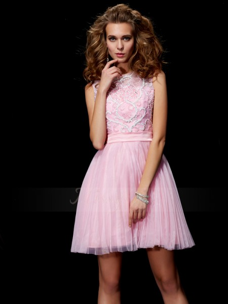 A-Line/Princess Scoop Sleeveless Short/Mini Pink Dresses