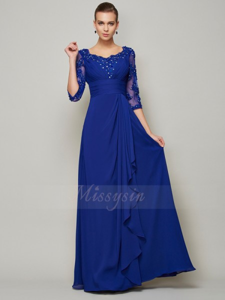 A-Line/Princess Scoop 3/4 Sleeves Floor-Length Royal Blue Mother of the Bride Dresses