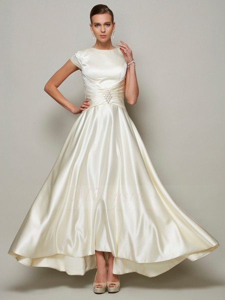A-Line/Princess Scoop Short Sleeves Floor-Length Ivory Mother of the Bride Dresses