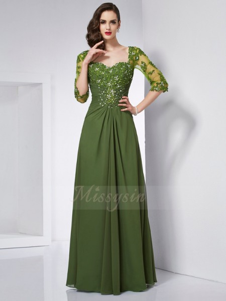 A-Line/Princess Sweetheart 3/4 Sleeves Floor-Length Green Dresses