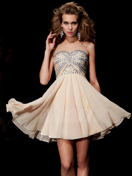 A-Line/Princess Scoop Sleeveless Short/Mini Champagne Dresses