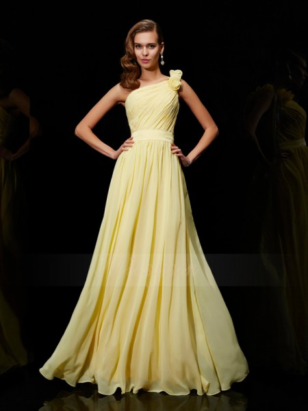 A-Line/Princess One-Shoulder Sleeveless Floor-Length Daffodil Bridesmaid Dresses