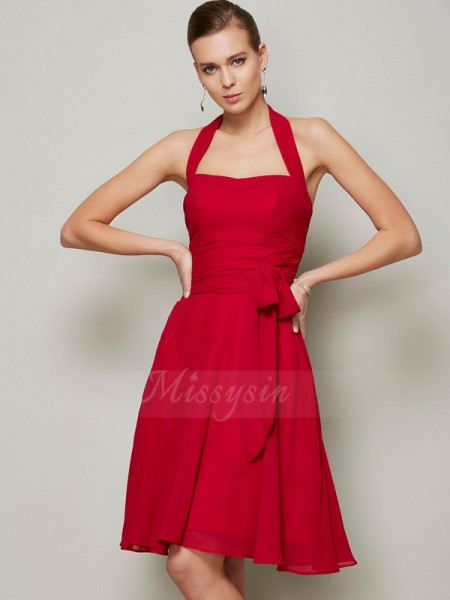 A-Line/Princess Halter Sleeveless Knee-Length Burgundy Dresses