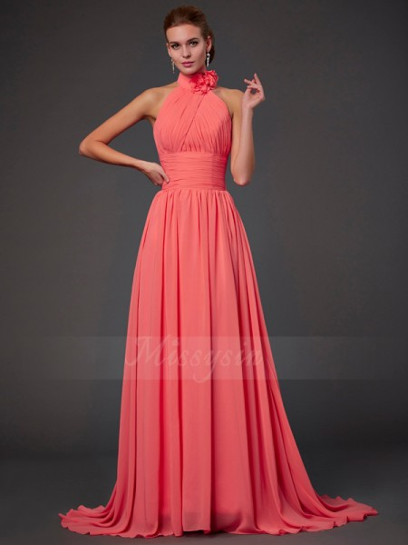 A-Line/Princess Halter Sleeveless Sweep/Brush Train Watermelon Bridesmaid Dresses