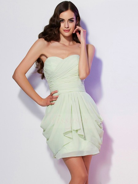 A-Line/Princess Sweetheart Sleeveless Short/Mini Sage Dresses