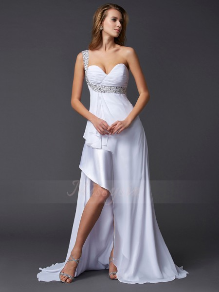 A-Line/Princess One-Shoulder Sleeveless Sweep/Brush Train White Dresses