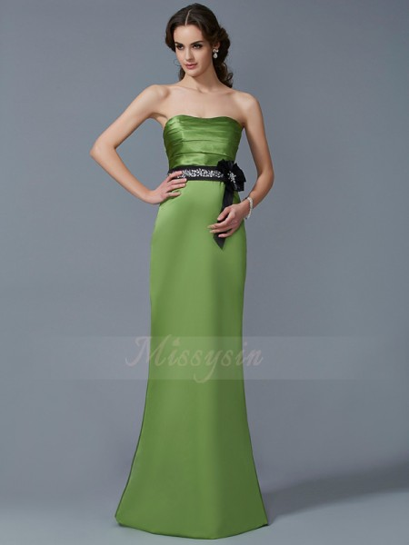 Sheath/Column Strapless Sleeveless Floor-Length Green Dresses