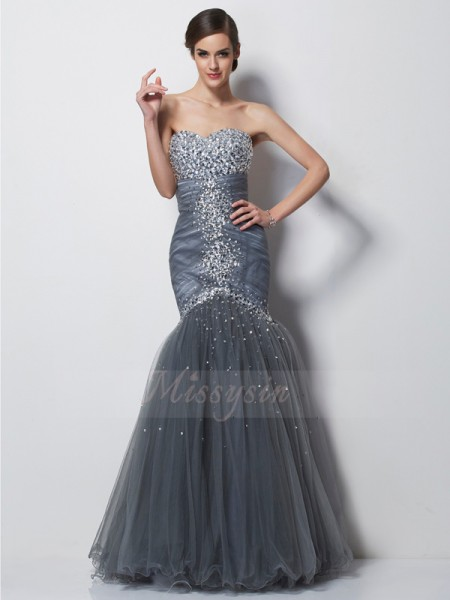 Trumpet/Mermaid Sweetheart Sleeveless Floor-Length Grey Dresses