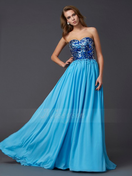 A-Line/Princess Sweetheart Sleeveless Sweep/Brush Train Blue Dresses