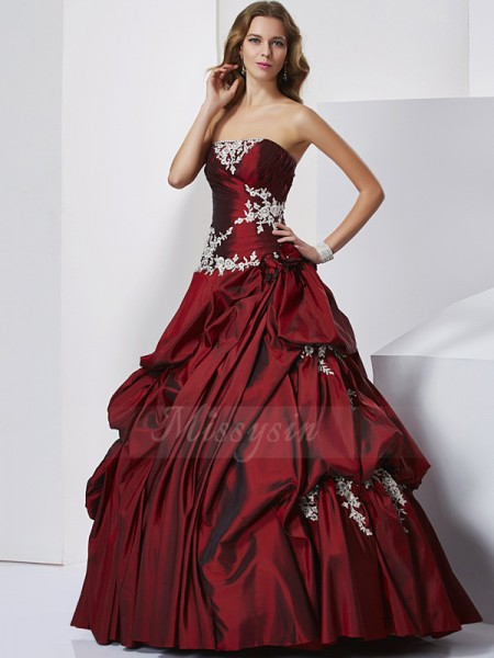 Ball Gown Sweetheart Sleeveless Floor-Length Burgundy Prom Dresses