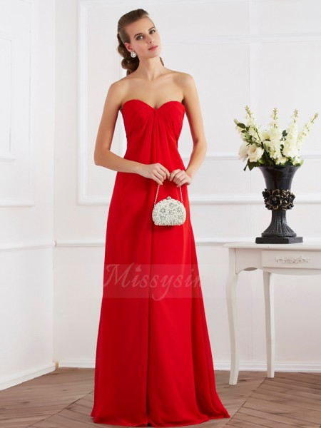 A-Line/Princess Sweetheart Sleeveless Floor-Length Red Dresses