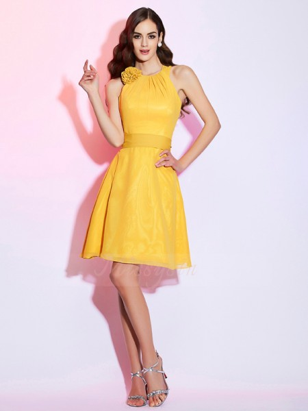 Sheath/Column High Neck Sleeveless Short/Mini Yellow Dresses