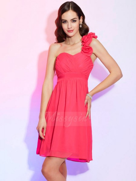 A-Line/Princess One-Shoulder Sleeveless Knee-Length Fuchsia Dresses