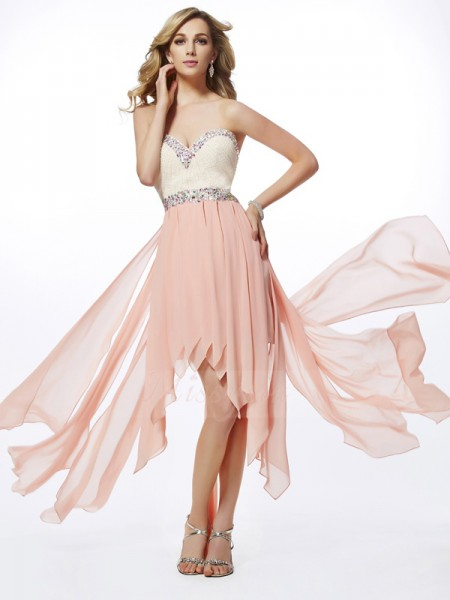 A-Line/Princess Sweetheart Sleeveless Asymmetrical Pearl Pink Dresses