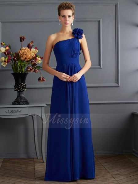 A-Line/Princess One-Shoulder Sleeveless Floor-Length Royal Blue Dresses