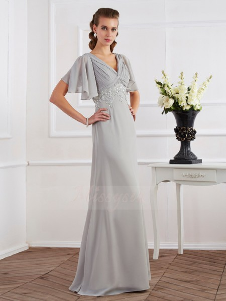 Sheath/Column V-neck Short Sleeves Floor-Length Silver Dresses