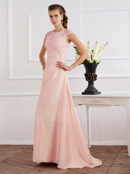Sheath/Column High Neck Short Sleeves Sweep/Brush Train Pink Evening Dresses