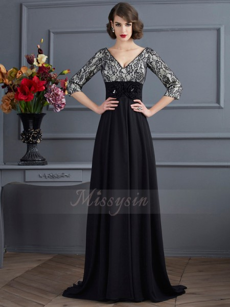Sheath/Column V-neck 3/4 Sleeves Sweep/Brush Train Black Dresses