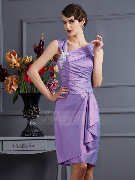Sheath/Column Sleeveless Knee-Length Lilac Bridesmaid Dresses