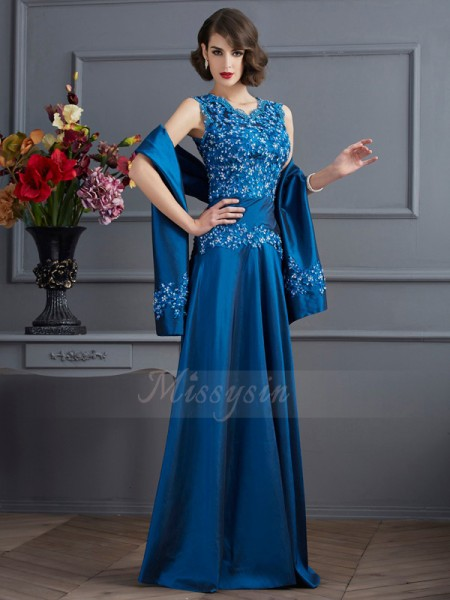 A-Line/Princess V-neck Sleeveless Floor-Length Royal Blue Dresses