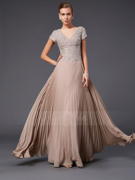 A-Line/Princess V-neck Short Sleeves Floor-Length Dresses