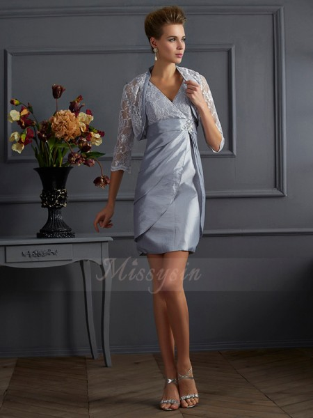 Sheath/Column V-neck Sleeveless Short/Mini Silver Dresses