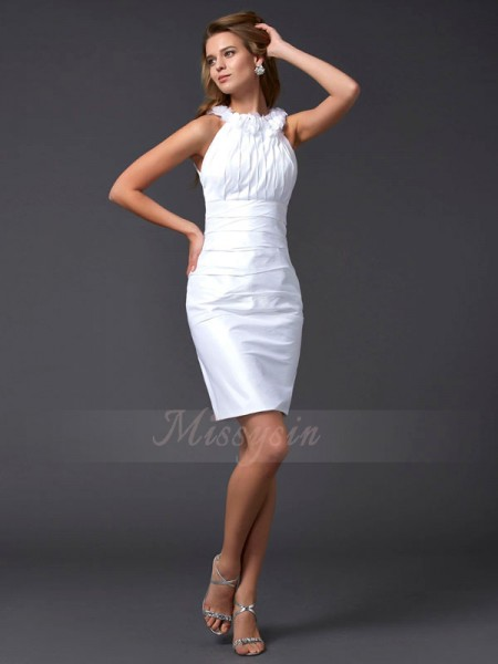 Sheath/Column High Neck Sleeveless Short/Mini White Dresses