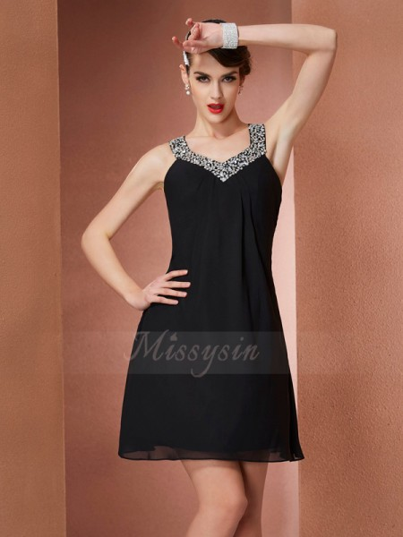 A-Line/Princess Scoop Sleeveless Short/Mini Black Dresses