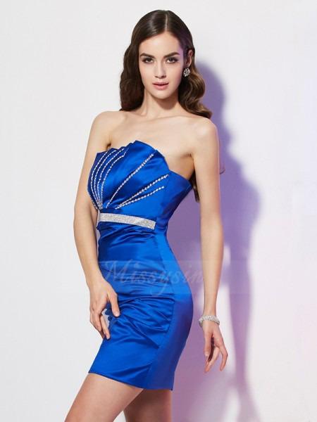 Sheath/Column Strapless Sleeveless Short/Mini Royal Blue Dresses