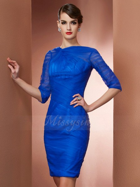 Sheath/Column High Neck 1/2 Sleeves Short/Mini Royal Blue Dresses