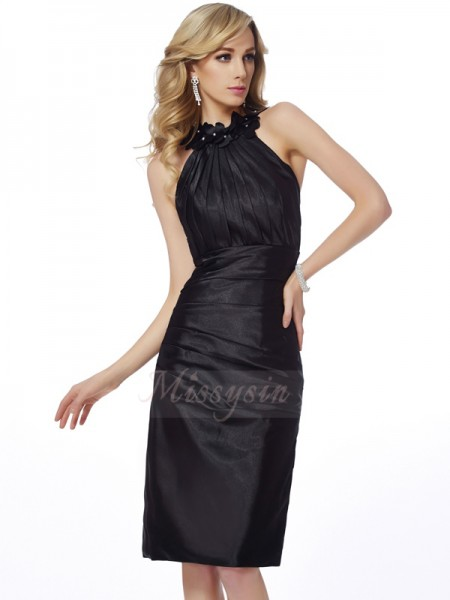 Sheath/Column Bateau Sleeveless Knee-Length Black Dresses