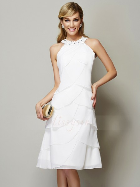 Sheath/Column Bateau Sleeveless Knee-Length White Dresses