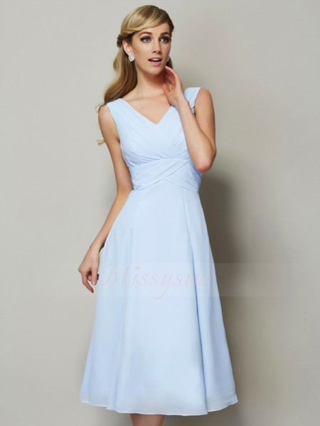 A-Line/Princess V-neck Sleeveless Tea-Length Light Sky Blue Bridesmaid Dresses