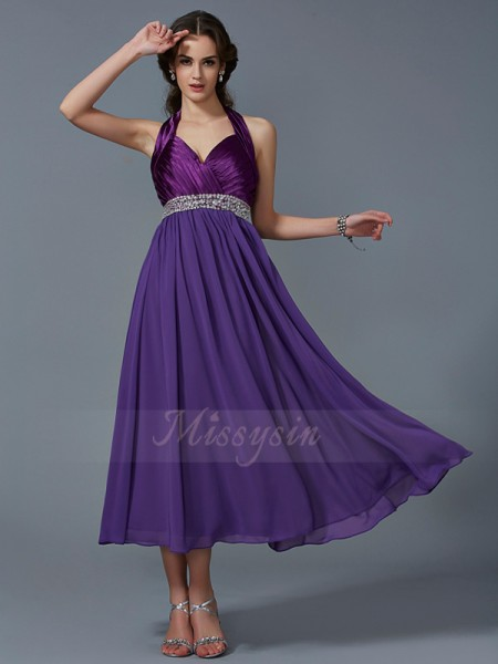A-Line/Princess Halter Sleeveless Ankle-Length Regency Dresses