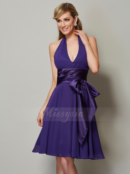 A-Line/Princess Halter Sleeveless Knee-Length Regency Bridesmaid Dresses